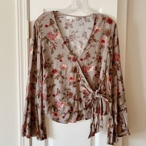 Women's floral blouse with front tie